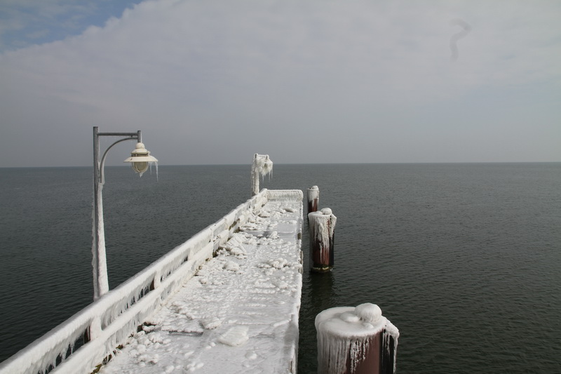 Frosted Pier on the Baltic Sea in Göhren - Rügen